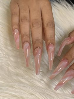 Soft Pink Marble Nails