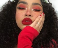 makeup, red, and girl image