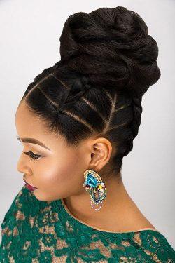 The essence to Dionne smith's bridal updos are intricate partings and stylised braids