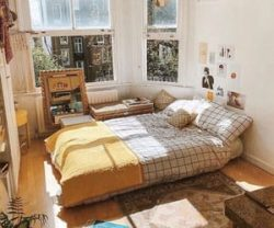 bedroom, room, and yellow