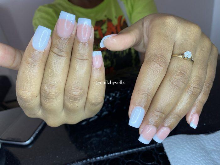 Soft white French nails
