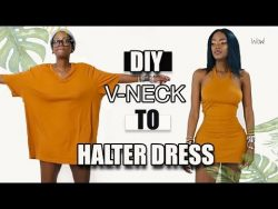 DIY $3 Men's Tshirt to V-Neck Halter Dress – YouTube