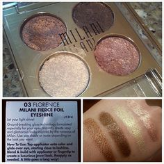 Milani Fierce Foil Eyeshine #eyeshadowquad in Florence. This is gorgeous and I must have it. #sh ...