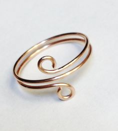 Rose Gold Ring Toe Ring Rose Gold Wire Wrapped Ring 14K Gold Filled Spiral…