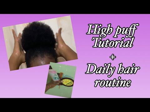 HIGH PUFF TUTORIAL & DAILY 4C HAIR ROUTINE