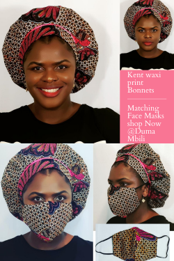 Kente waxi print Bonnets with Face Masks