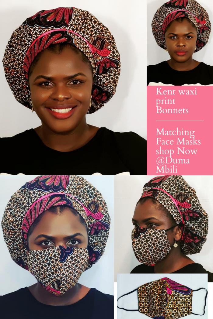Kente waxi print Bonnets with Face Masks