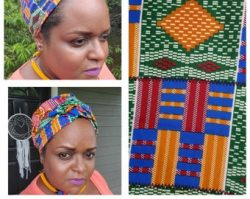 Large Kente Print Turban/headwrap/ Shaped turban with extended Ties