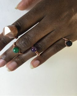 Copper Crystal Rings by @alanzejewelsllc