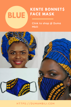 Beautiful Kente waxi print Bonnets with matching Face Masks