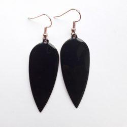 Black Teardrop Dagger Earrings.