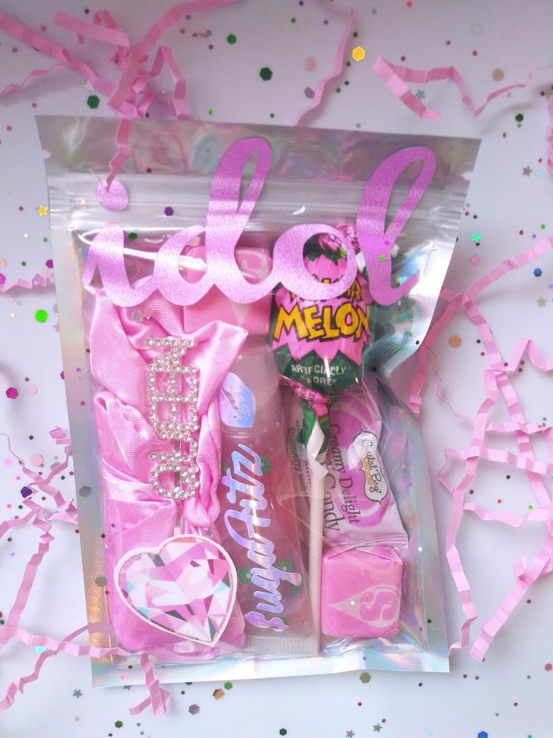 Pink lip gloss bundle with candy