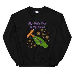 My Skate Tool Is My Wand | Witch Roller Skate Sweatshirt | Multiple Skin Tones + Green