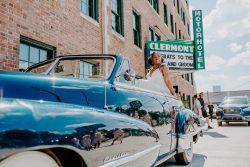 vintage car & bride