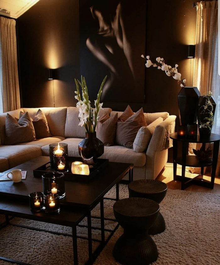 Warm & chic living room design