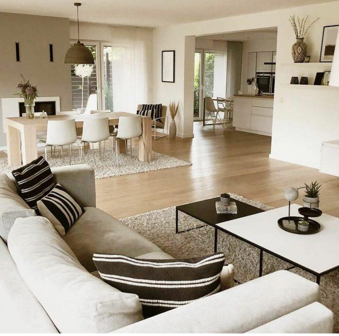 Crisp boho living room design