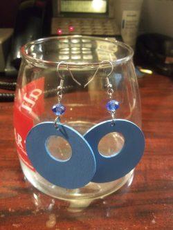 Blue painted wood earrings
