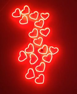 #red #aesthetic #redaesthetic #hearts #neonlights