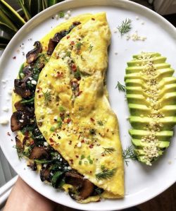 Mushroom Omelette and Avocado ?