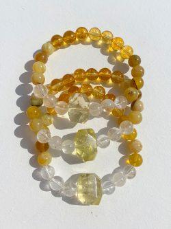 Lemon Quartz, Yellow Opal, Citrine and Clear Quartz Healing Crystals Bracelet