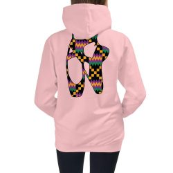 Pink hoodie with kente print pointe shoes