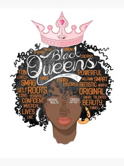 Black Queens strong Word cloud Natural face T-Shirt Poster