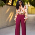 Burgundy Floral Color-Block Jumpsuit – StylePantry