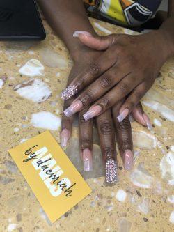 Soft Ombré Acrylic Nails w/ Swarovski