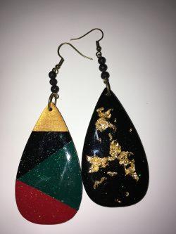 Double sided wooden earrings