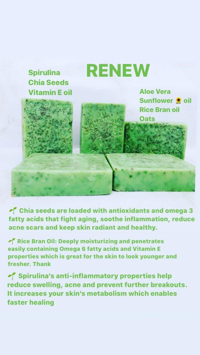 RENEW SPIRULINA &CHIA SEEDS SOAP BAR