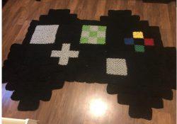 Crocheted XBox controller rug