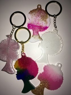 Afro girl keychains