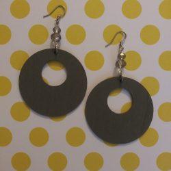 Gray wood earrings