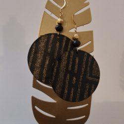 Black and glitter wood earrings