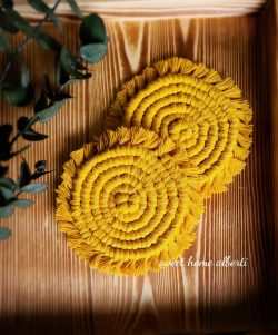 Mustard yellow coasters by Sweet Home Alberti