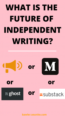 What is the future of Independent writing? www.medium.com bawler.seunite.com ghost.com substack. ...