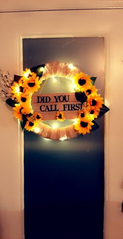 "Handmade 20″ ""Did you call?"" Wreath."