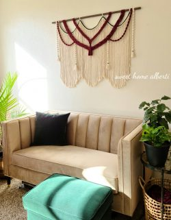 Large macrame wall hanging with burgundy and emerald accents by Sweet Home Alberti
