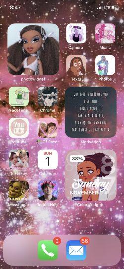 Aesthetic kawaii Black girl IPhone custom Home Screen