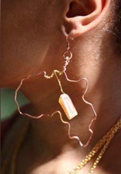 Copper Africa and Amber Quartz Earrings