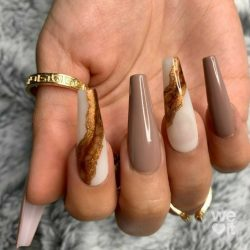 Brown/Nude with Gold accents Nail Set