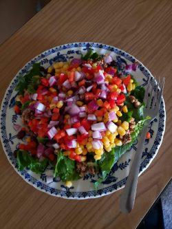 Raw taco salad made with walnut and mushroom meat
