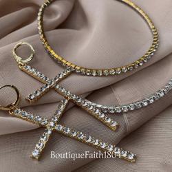 Diamond & Gold , Anklet Tennis Bracelet & Cross Earrings