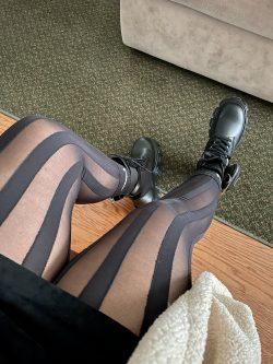 Black Tights and Black Prada boots