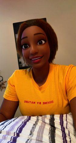 Black cartoon character created via Snapchat filter