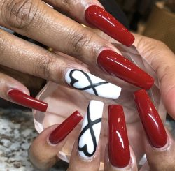 Red Heart Valentines Day Nails
