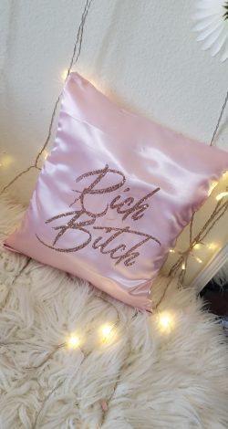Rich Bitch satin throw pillow