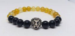 Men's Agate and Onyx Lion Bracelet
