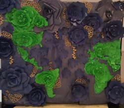Global flower wall. Blue and green paper flower wall.