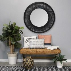 Black Bamboo Wood Glass Rattan Mirror